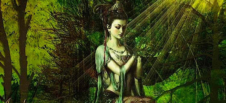 Buddha Weekly Green Tara in forest Buddhism