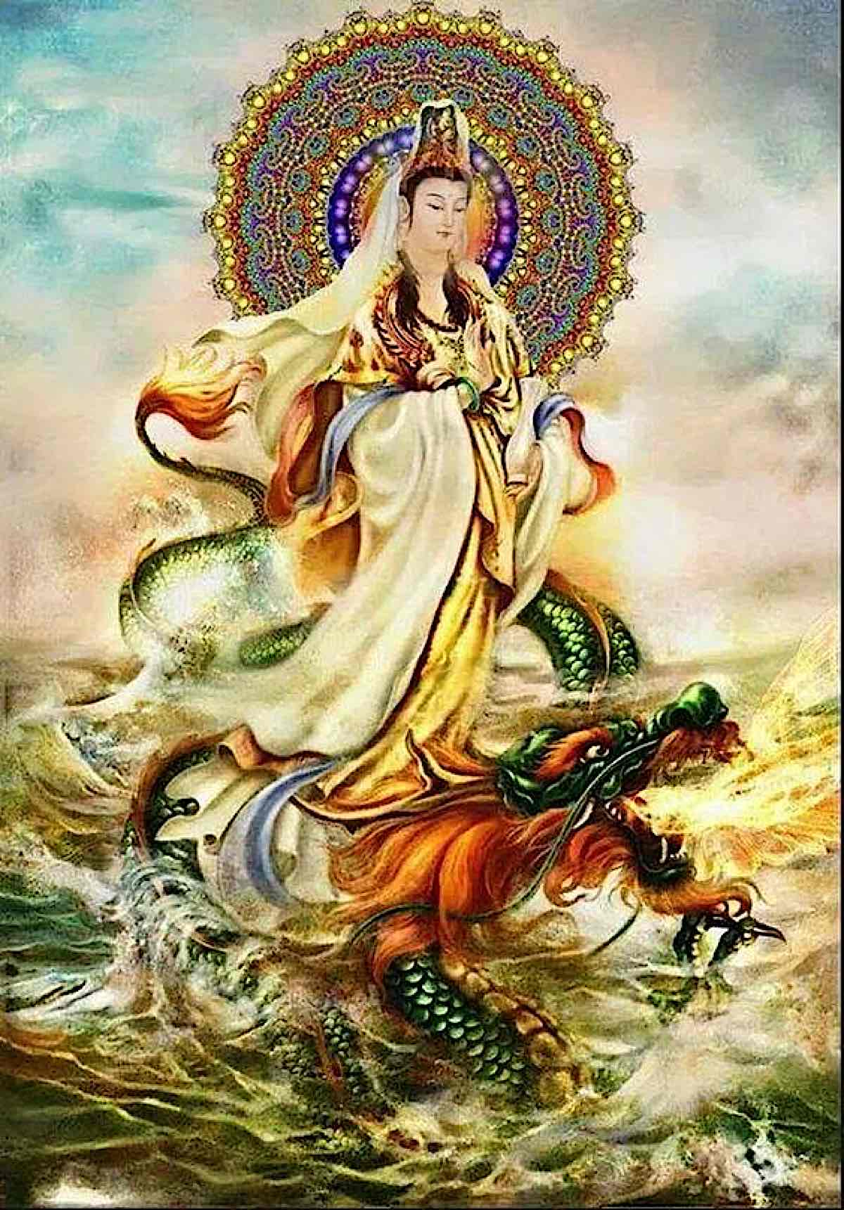 Buddha Weekly Guan Shi Yin on a dragon on water Buddhism