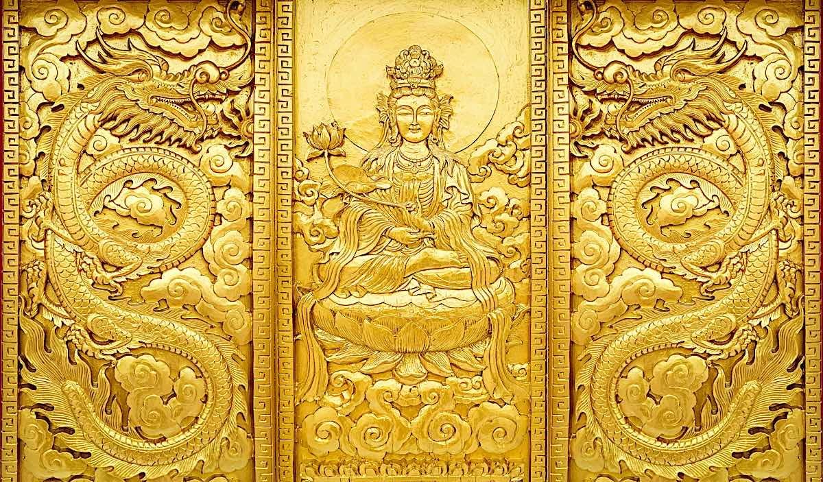 Buddha Weekly Guan Yin Dragon golden Dreamstime xxl 103683361 Buddhism