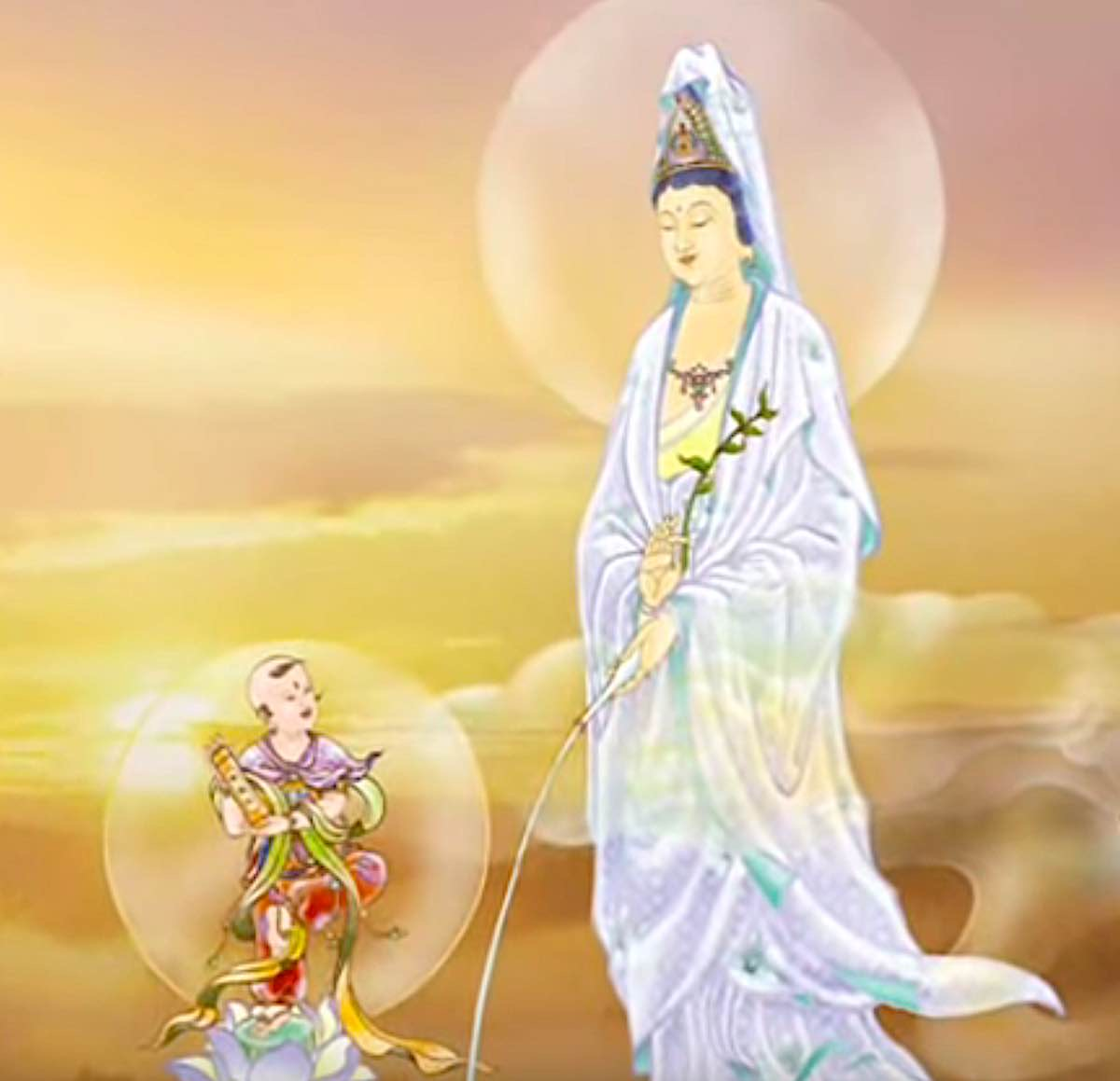 Buddha Weekly Guayin in Golden sunset close Buddhism