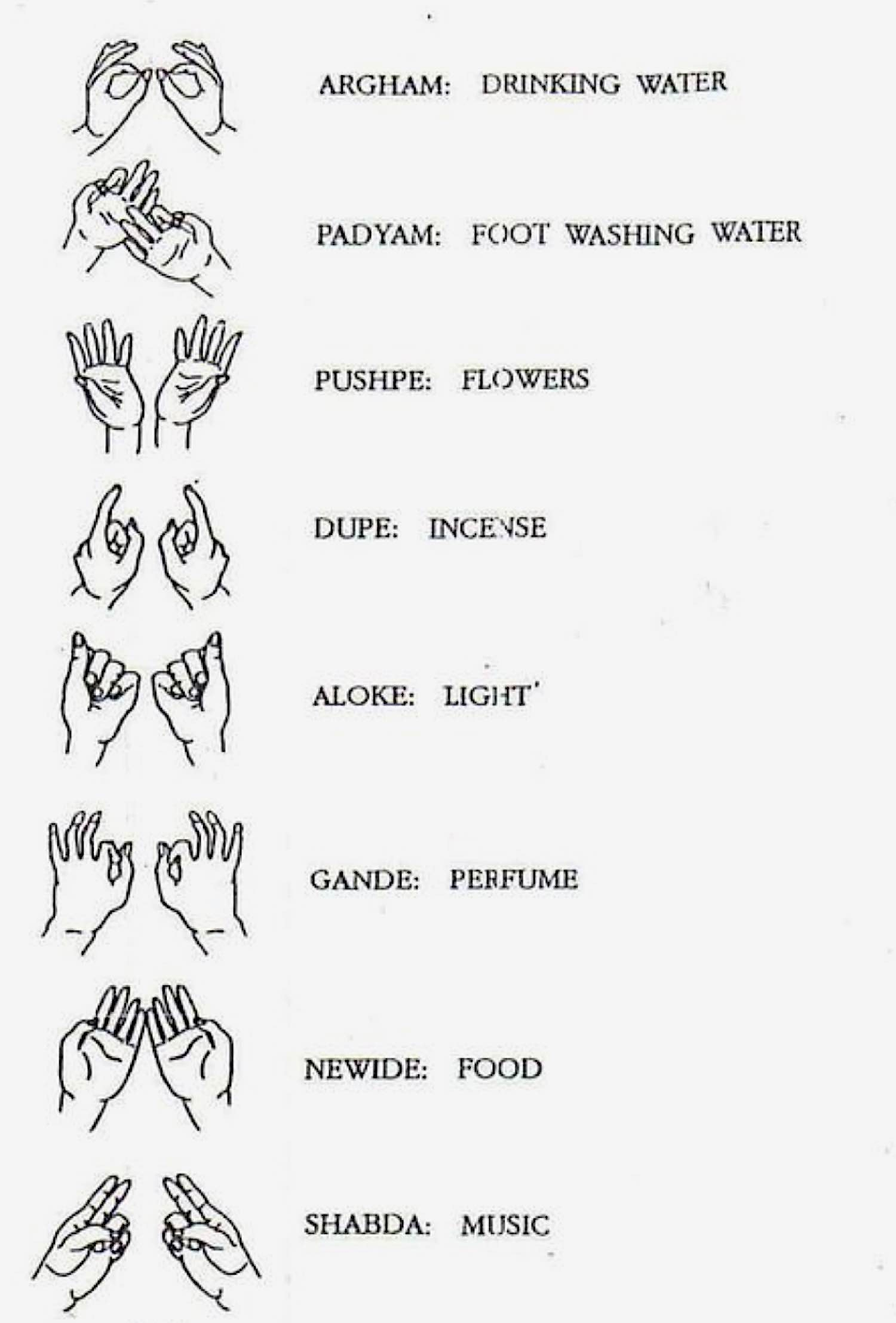 Buddha Weekly Hand Mudras for offerings Buddhism