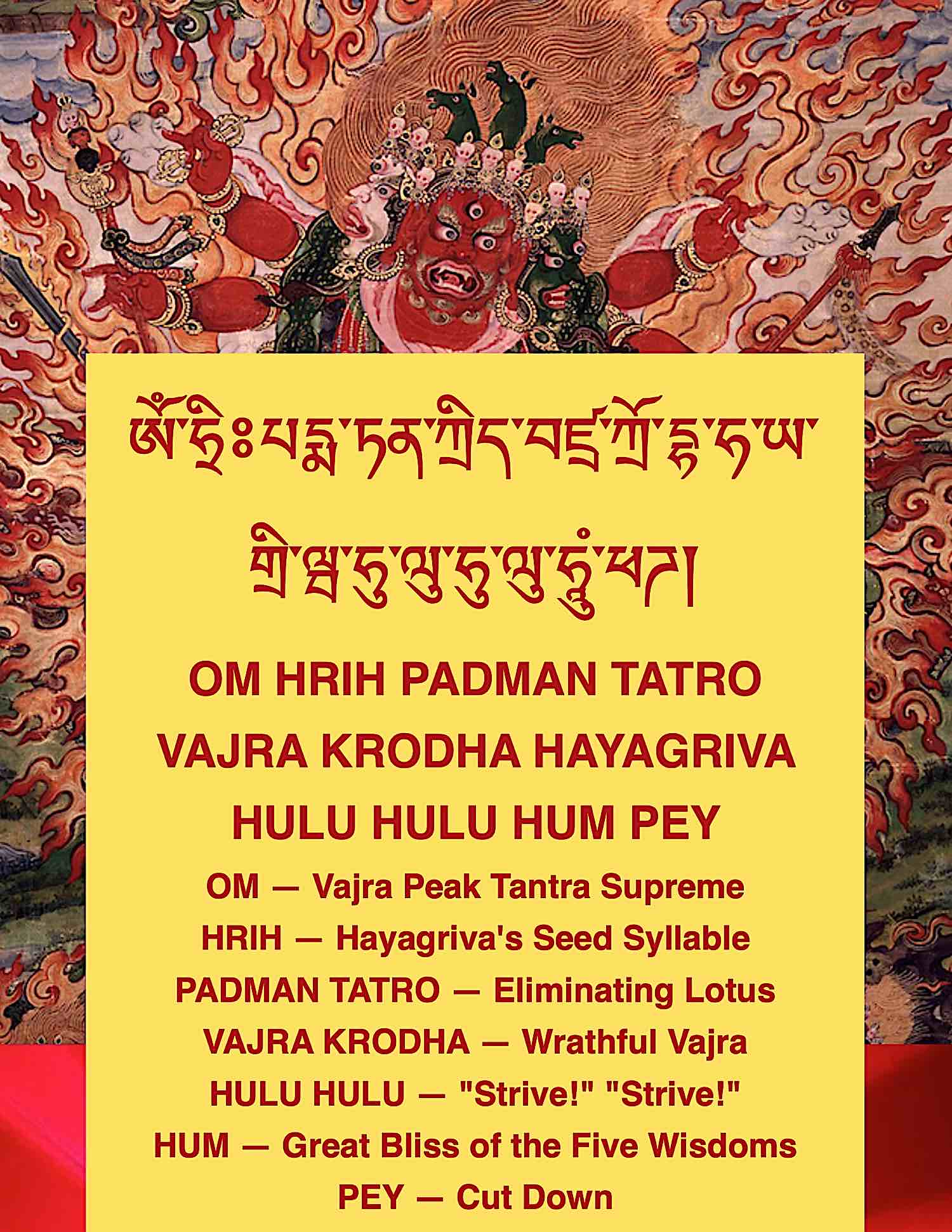 Buddha Weekly Hayagriva Mantra in Tibetan English and with Meaning explained Buddhism
