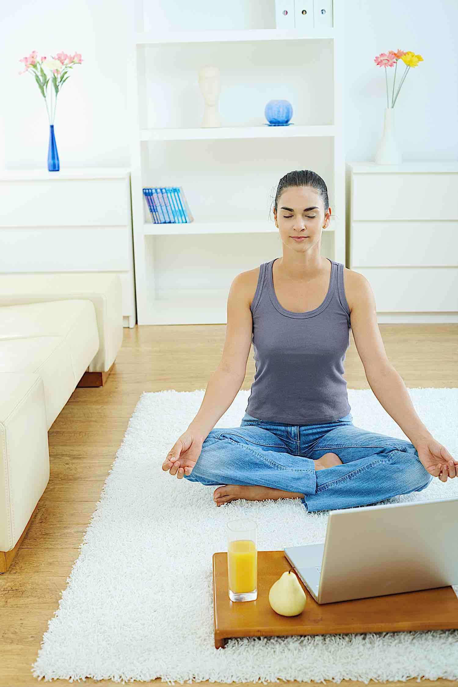 Buddha Weekly Home meditation with laptop Buddhism
