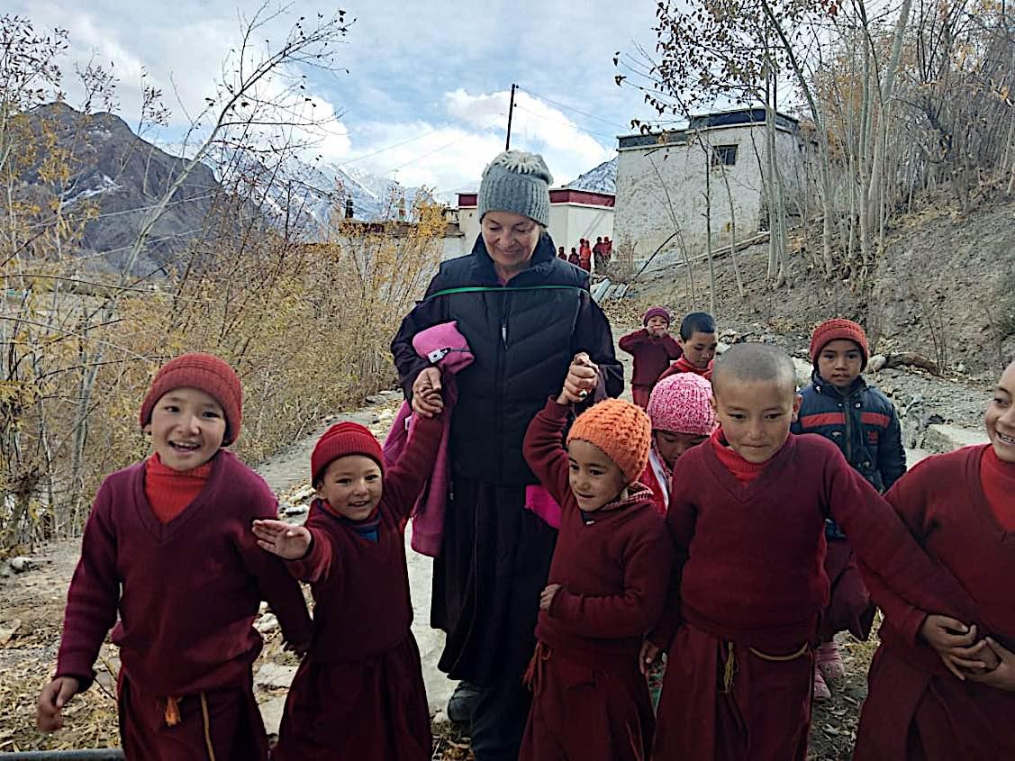 Buddha Weekly Irina from Gaden Relief with the young nuns Zangla Byangchub Choling Nunnery in Zanskar Valley Ladakh India Buddhism