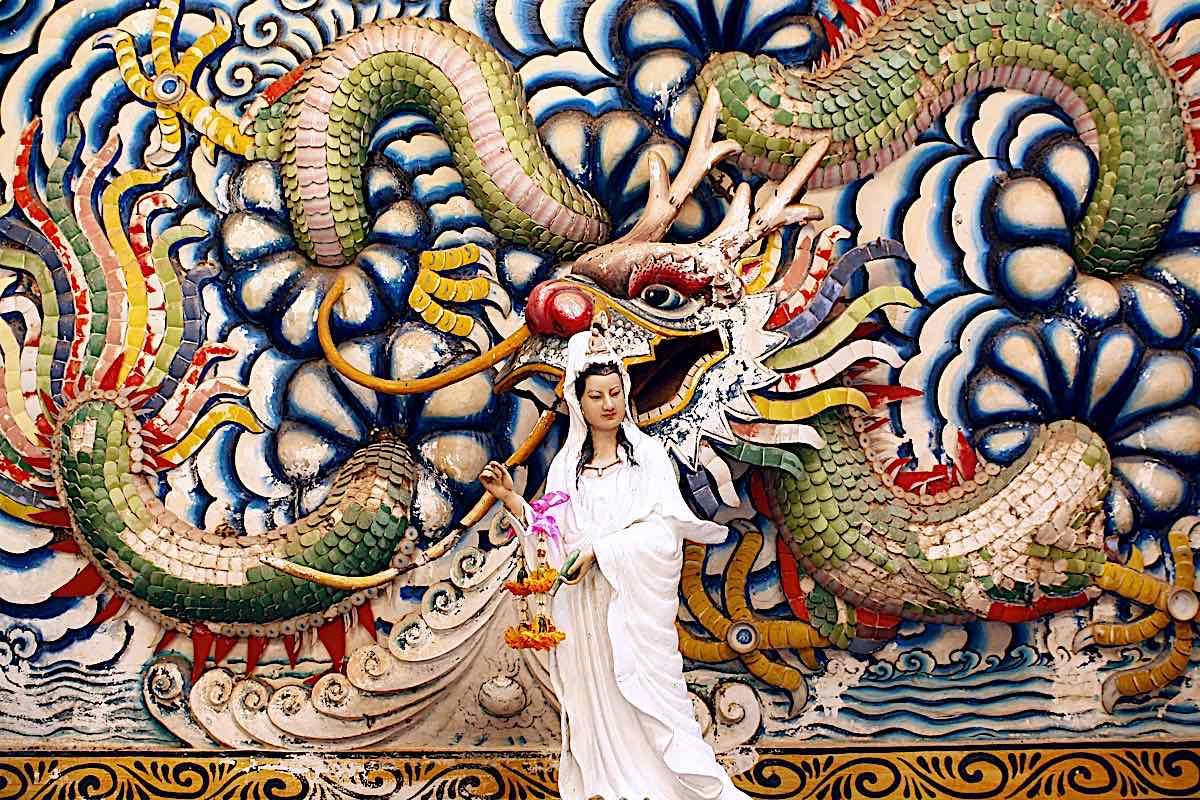 Buddha Weekly Kuan Yin Dragon temple relief dreamstime xxl 18932958 Buddhism