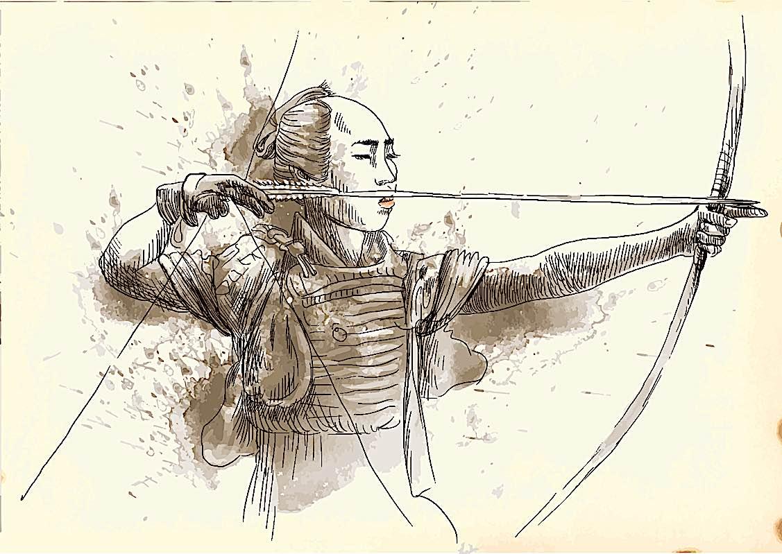 Buddha Weekly Kyodo modern Zen martial art hand drawn of a Samarai Buddhism