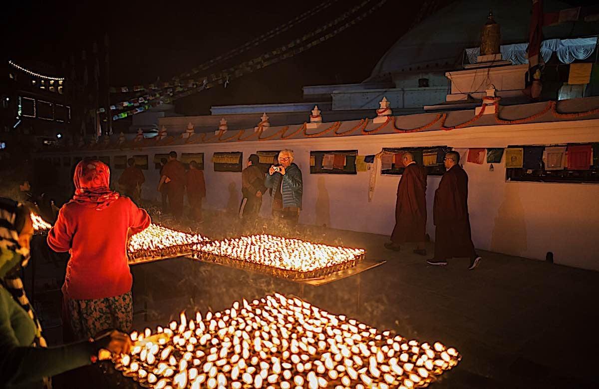 Buddha Weekly Lamps lit at Boudnath Stupa Kathmandu Nepal Buddhism