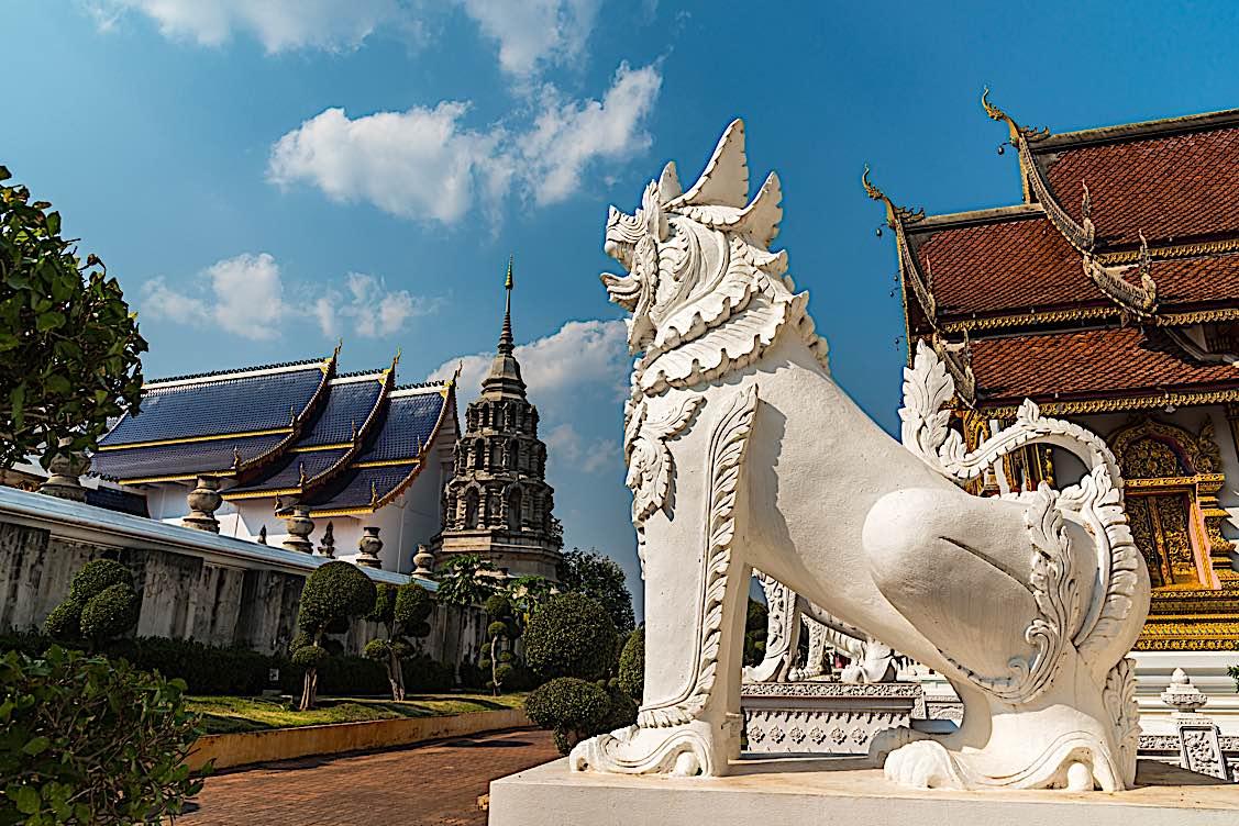 Buddha Weekly Lion in Thai Buddhist Temple Buddhism