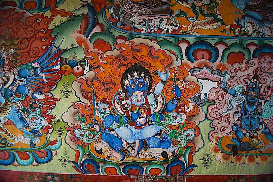 Buddha Weekly Mahakala and Consort four arms Buddhist Protector image Bhutan Jiali Chen Buddhism