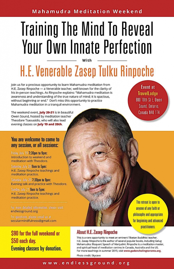 Buddha Weekly Mahamudra Weekend Retreat Owen Sound Zasep Rinpoche 2019 Buddhism
