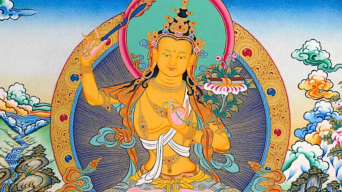 Buddha Weekly Majushri feature image horizontal with flaming wisdom sword Buddhism