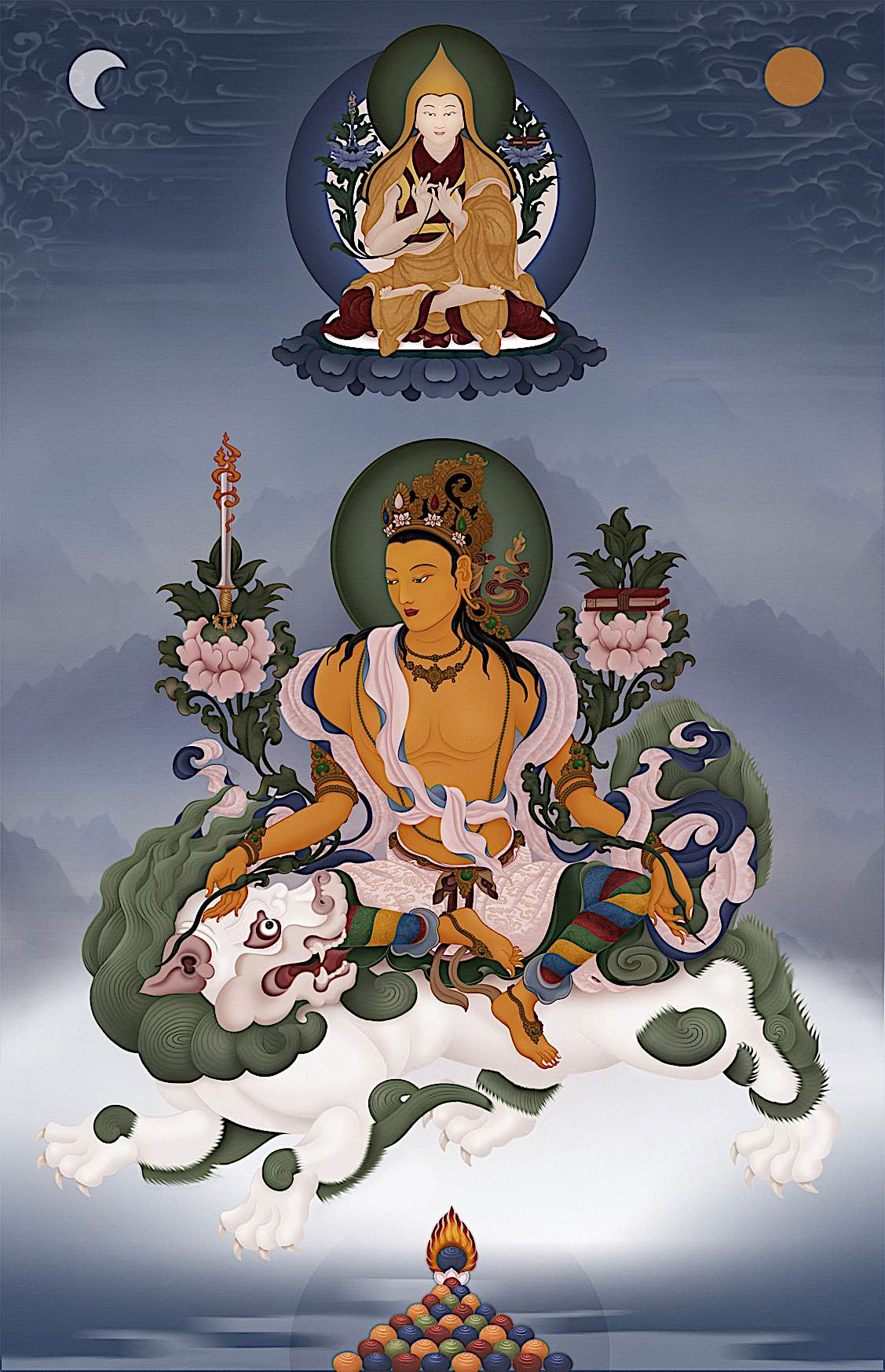 Buddha Weekly Manjushri on a snow lion with sword of wisdom Buddhism
