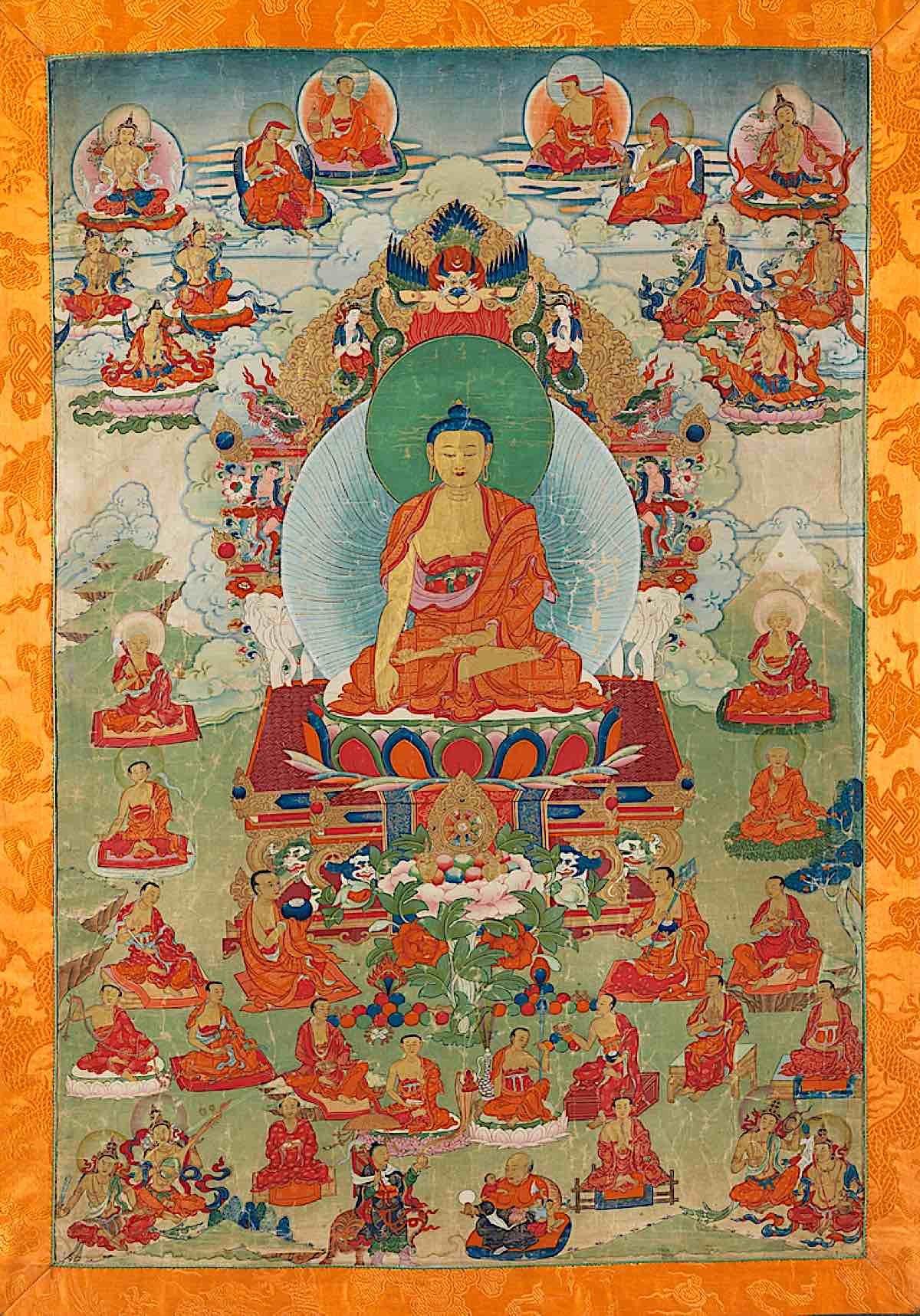 Buddha Weekly Master work of Shakyamuni Buddha paitned in Tibet ground mineral pigment Cotton Himalayan Art 4070 Buddhism