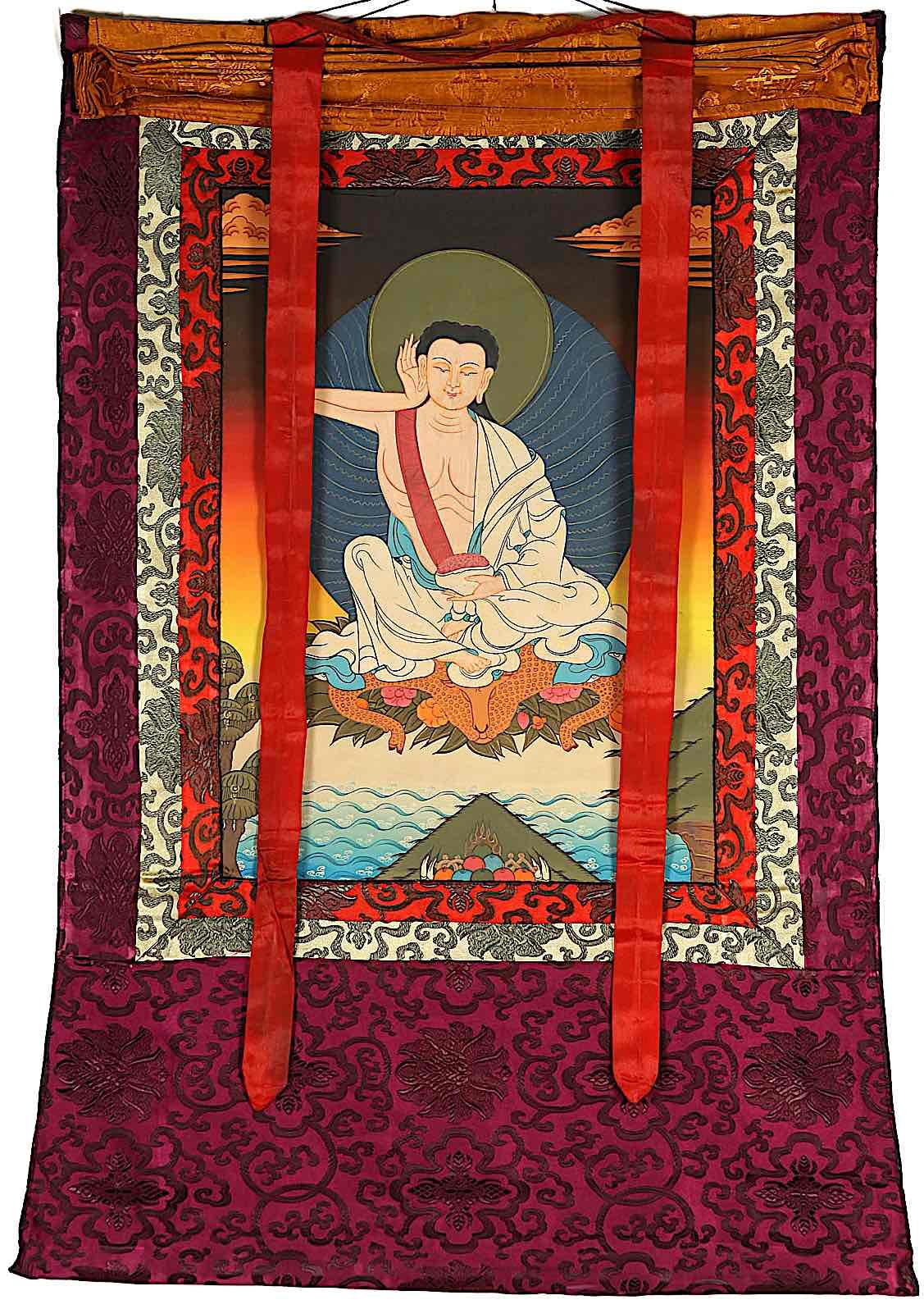 Buddha Weekly Milarepa Tangkha brocade Buddhism