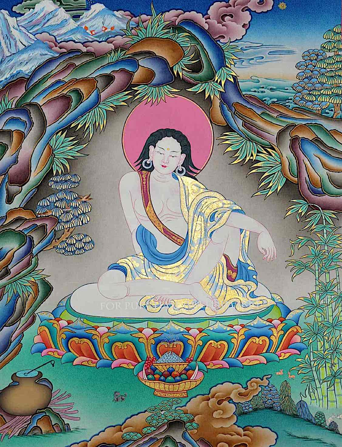 Buddha Weekly Milarepa with gold leaf beautiful Buddhism