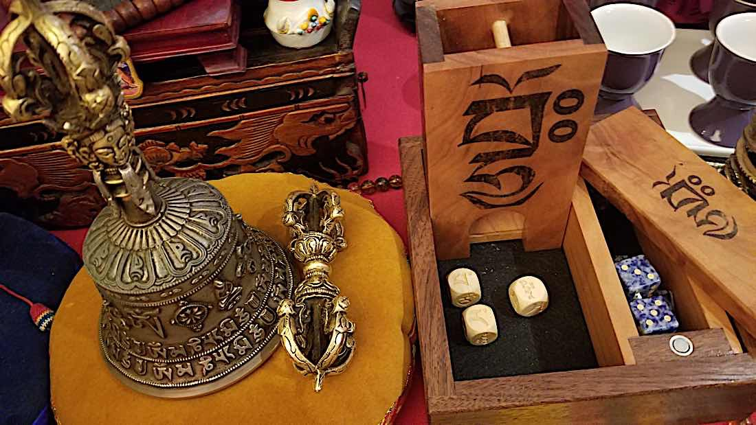 Buddha Weekly Mo dice tower and dice both numbered and Manjushri style Buddhism