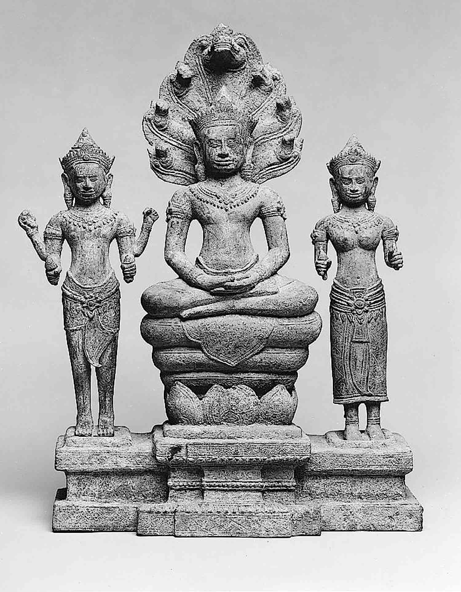 Buddha Weekly Naga Protected Buddha with Avalokiteshvara and Prajnaparamita sculpture 12th Century Buddhism