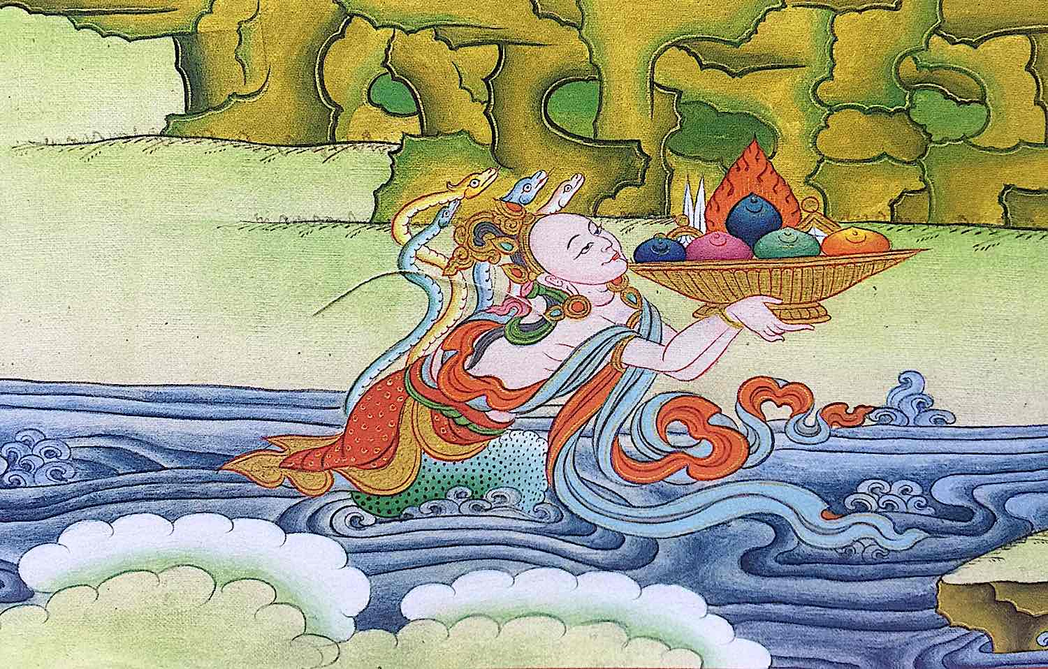Naga rising from the waters receiving offerings.