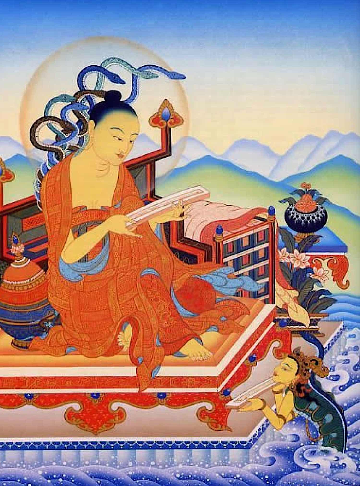 Buddha Weekly Nagarjuna receiving Mahayana text from Naga King Varuna Buddhism 2