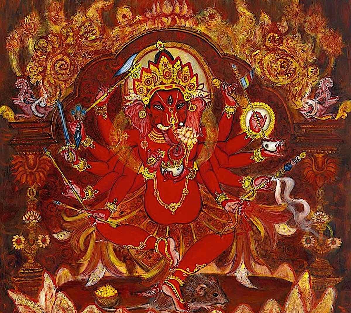 Buddha Weekly Newar style 12 armed red ganesha ganapati Buddhism