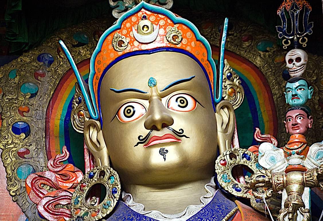 Buddha Weekly Padmasambhava Guru Rinpoche Lotus Born statue in temple Buddhism