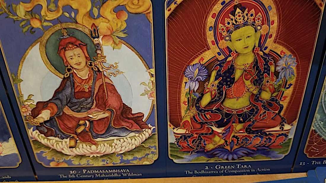 Buddha Weekly Padmasambhava and Green Tara from Laura Santi Oracel Deck Buddhism