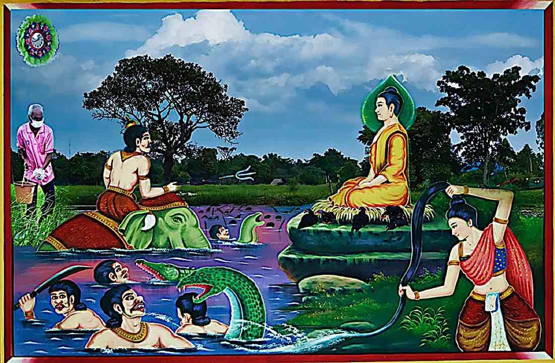 Buddha Weekly Phra Mae Thorani and the water of Buddhas activities washes away Mara Buddhism