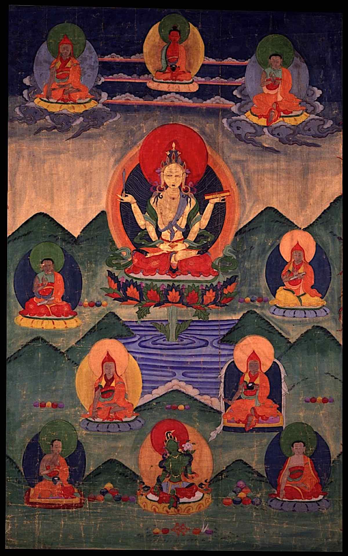 Buddha Weekly Prajnaparamita ground mineral pigment cotton Thangka Erie Art Museum with Tara Buddhism