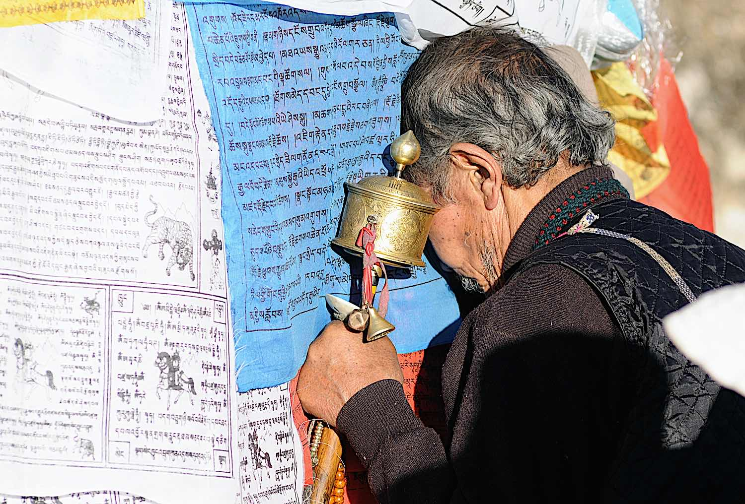 Buddha Weekly Prayer Wheel Practice and Prostration at a Temple Tibet Buddhism