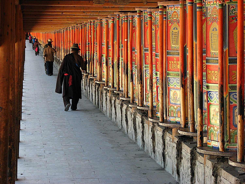 Buddha Weekly Prayer Wheel spinning at Labrang Monastery in Xiahe Tibetan Buddhist Gelugpa Buddhism