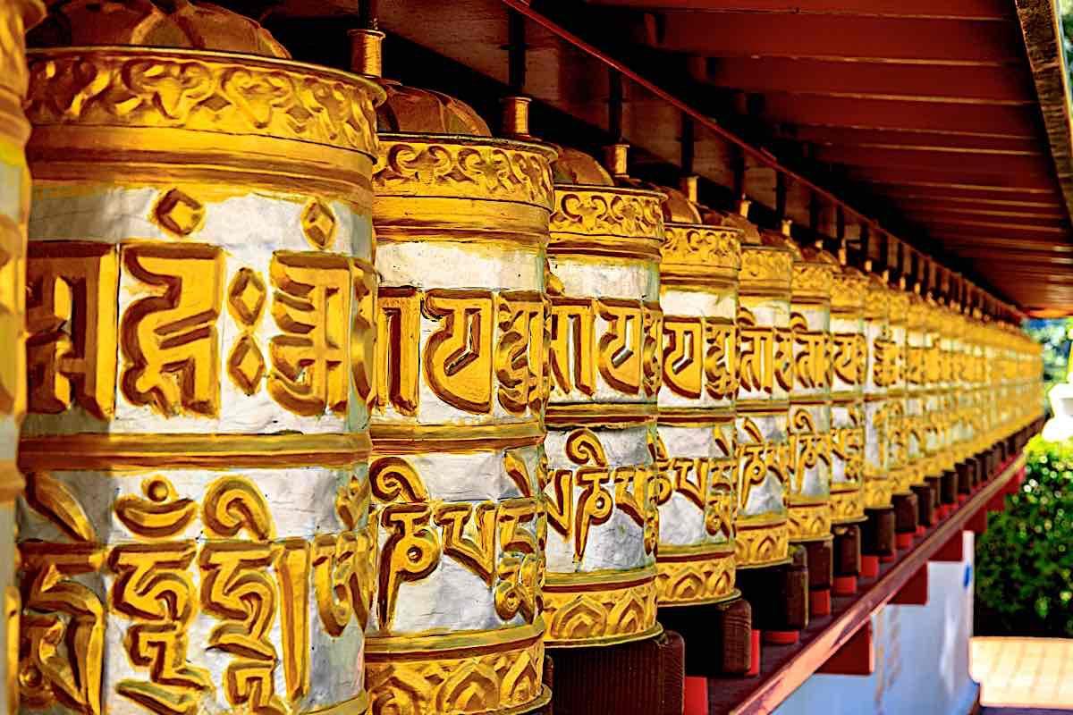 Buddha Weekly Prayer wheels at Vajrayana Temple Dag Shang Buddhism