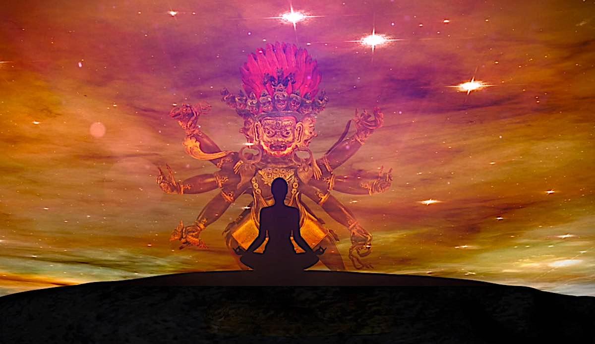 Buddha Weekly Self Generation of the self as Hayagriva San Drup during meditation graphic Buddhism
