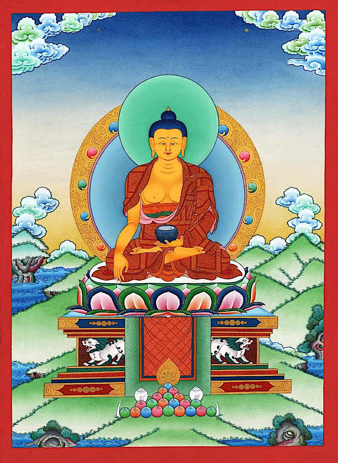 Buddha Weekly Shakyamuni with lion throne Buddhism