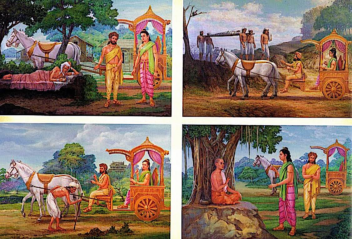 Buddha Weekly Siddartha leaves the palace and sees the the four sights sickness death old age Buddhism