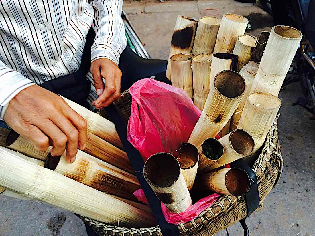 Buddha Weekly Sweet rice in bamboo Southeast asian dessert Buddhism