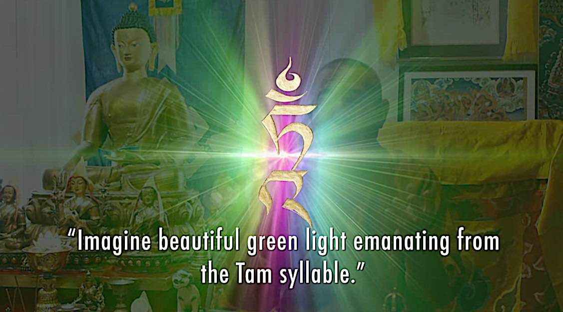 Buddha Weekly Tam syllable beautiful green light emanates Buddhism