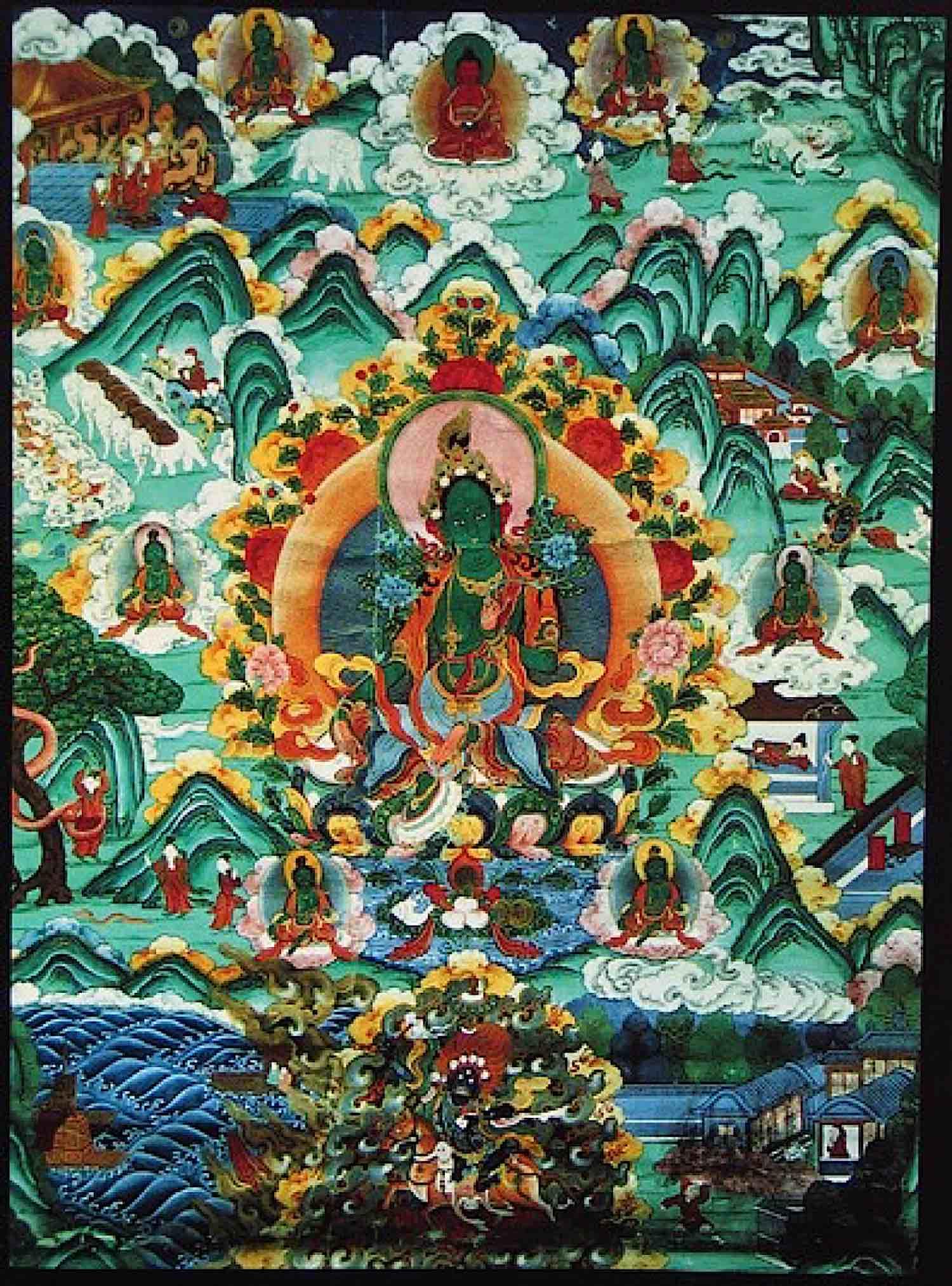 Buddha Weekly Tara and the Eight Great Fears Thangka from Himalayan Art Buddhism