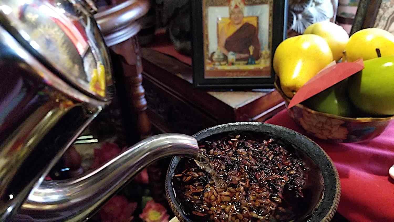 Buddha Weekly Tea Offering close up with HH Sakya Trizin Buddhism