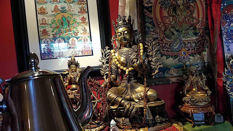 Buddha Weekly Tea pot with Tara offering Serkyem Buddhism