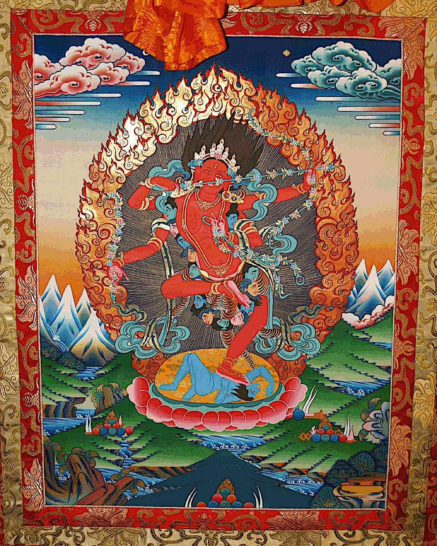 Buddha Weekly Thangka Kurukulla with brocade Buddhism
