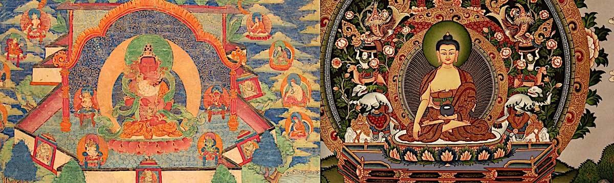 Buddha Weekly Tibetan Thangka on left Nepali Thangka on right Buddhism