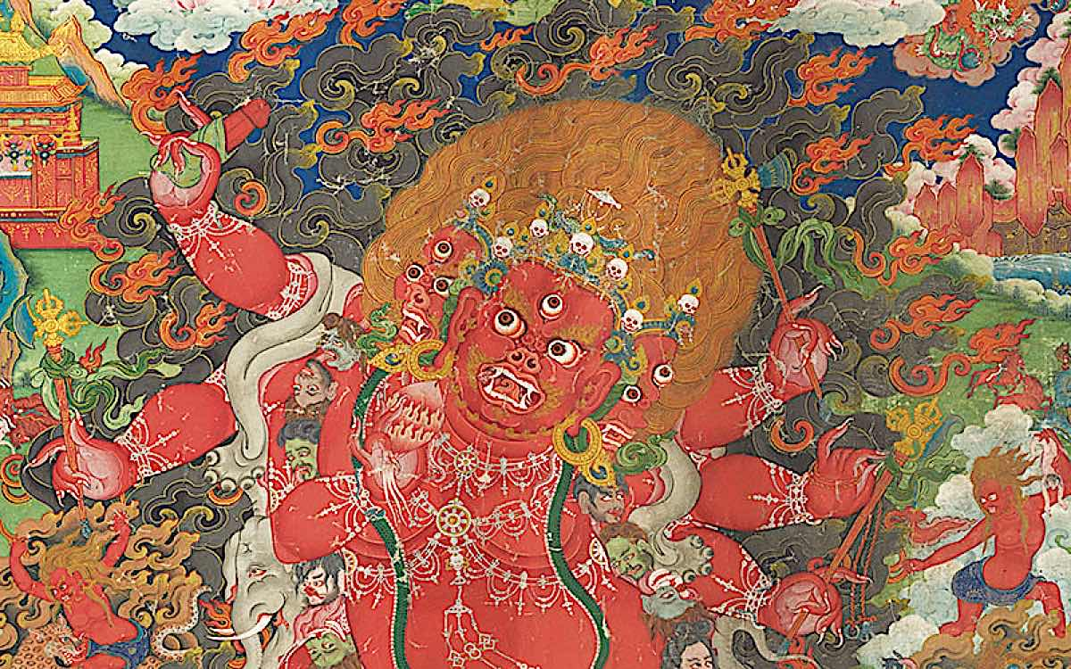 Buddha Weekly Tibetan wrathful Thangka example Buddhism
