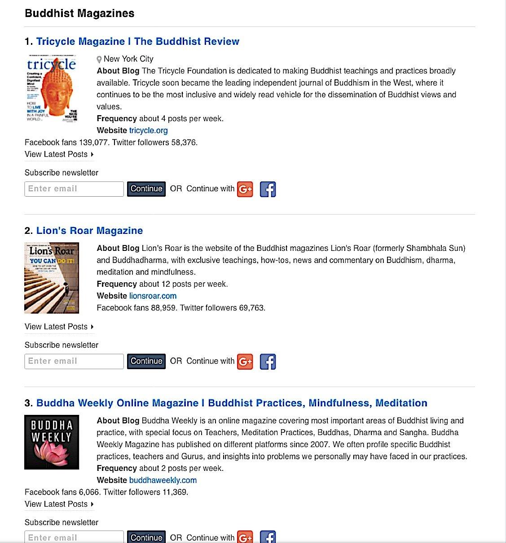 Buddha Weekly Top 3 Buddhist Magazines according to Feedspot Buddhism