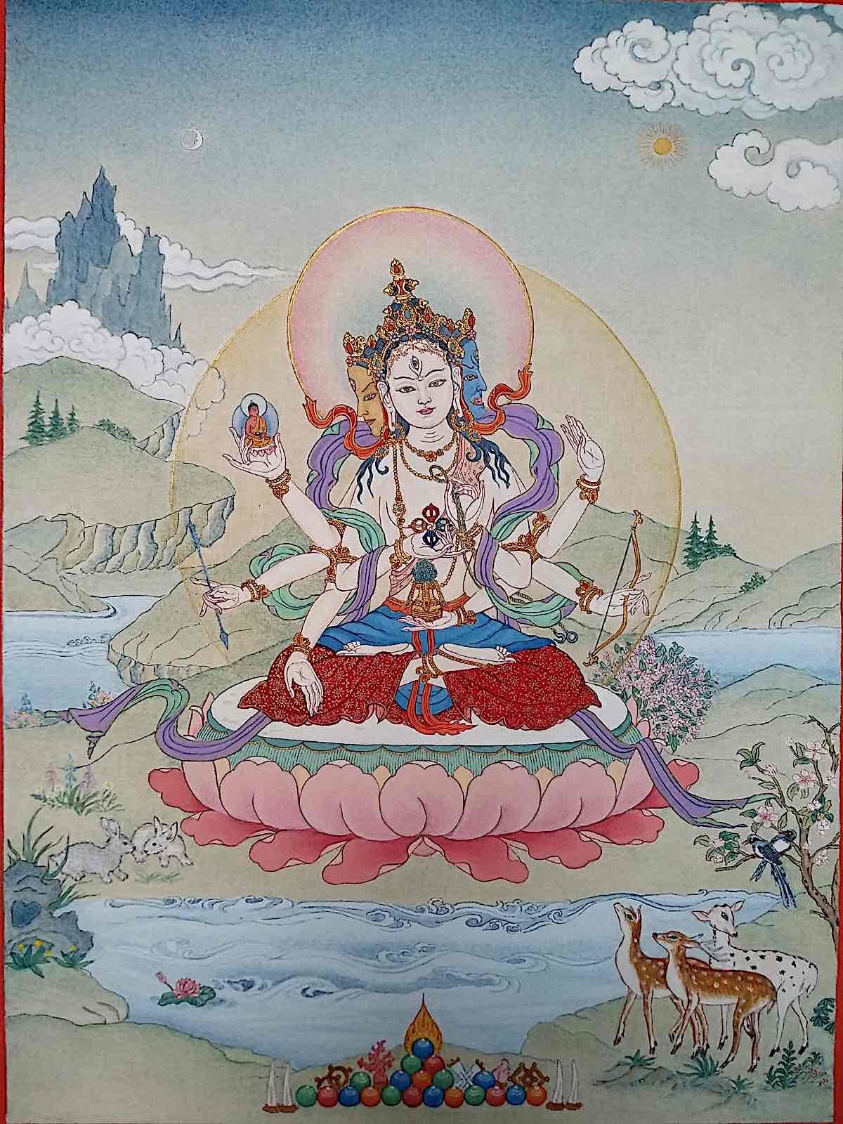 Buddha Weekly Ushnisha Vijaya Namgyalma Thangka by Angeli Lhadripa Shkonda Buddhism