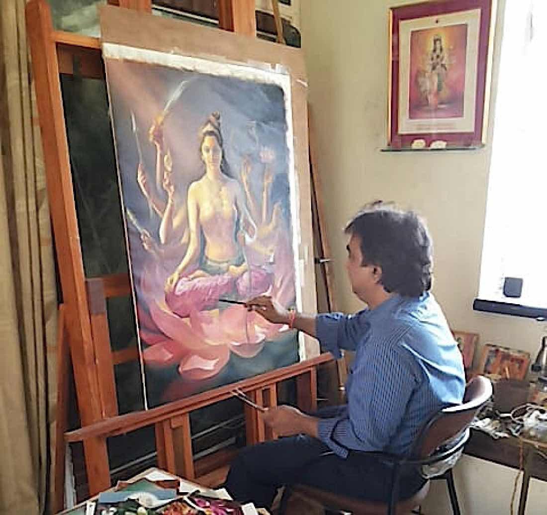 Buddha Weekly V V Sapar painting one of the 21 Taras according to Surya Gupta Tradition for Dzongsar Rinpoche Buddhism