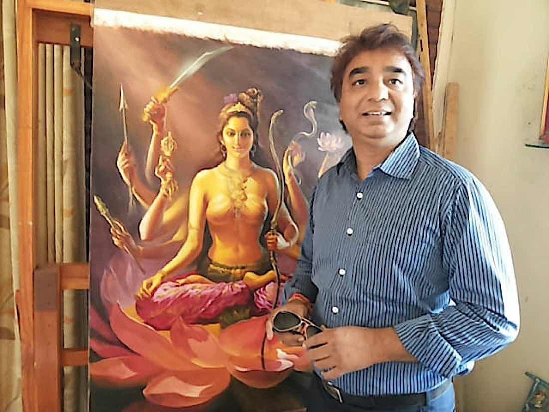 Buddha Weekly V V Sapar posing with his painting of 3 Arya kanaka varna tara Tara 3 of the 21 Taras according to Surya Gupta Buddhism