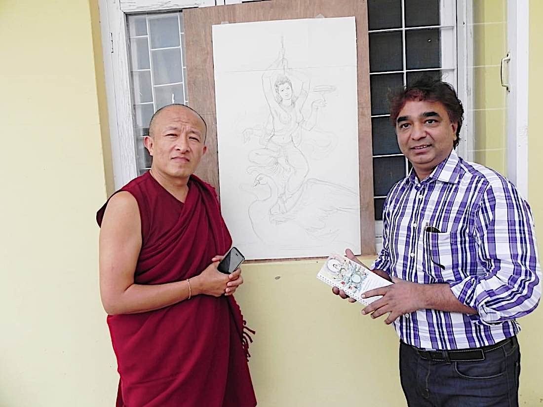 Buddha Weekly V V Sapar scetches the 18th Tara of 21 Taras according to Surya Gupta Tradition for Dzongsar Rinpoche to discuss and approve Buddhism