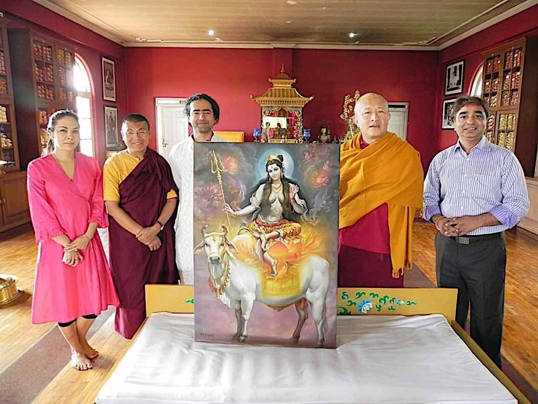 Buddha Weekly V V Sapar with Dzongsar Khyentse Rinpoche and one of the afmous 21 Tara paintings Buddhism