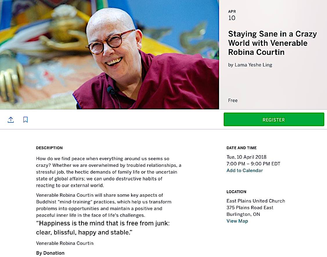 Buddha Weekly Venerable Robina Courtin Staying sane in a crazy world event Ontario Buddhism