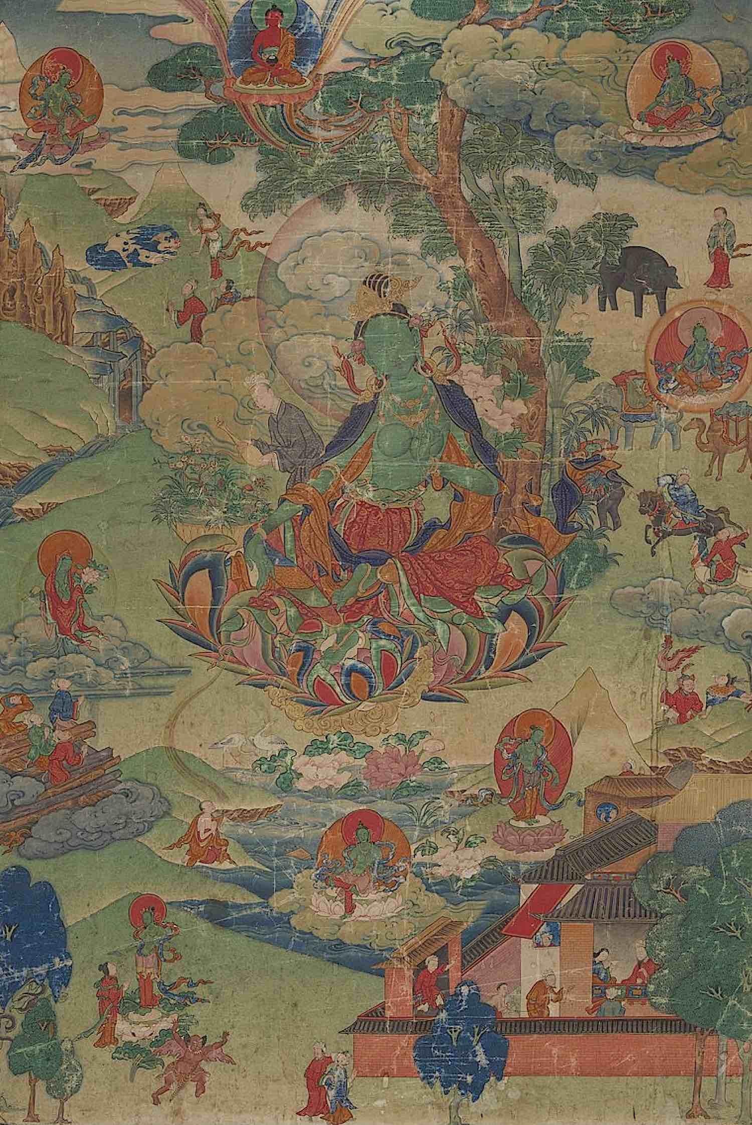 Buddha Weekly Very old Green Tara thangka showing her working in the world Himalayan Art Buddhism